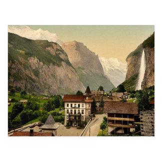 Lauterbrunnen Valley with Staubbach and Hotel Stei Postcard
