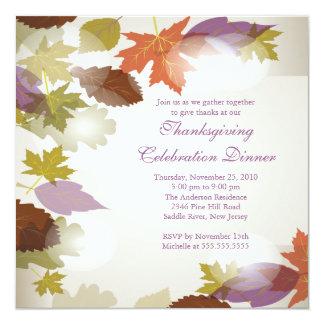 L'automne moderne élégant laisse l'invitation de carton d'invitation  13,33 cm
