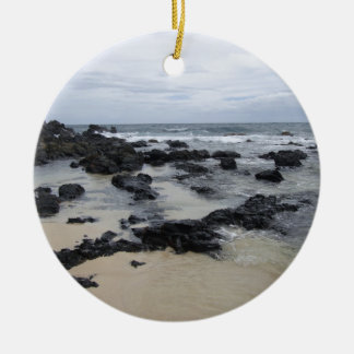 Lava Rock Beach Ceramic Ornament