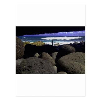 Lava Rocks And Hawaiian Ocean Postcard