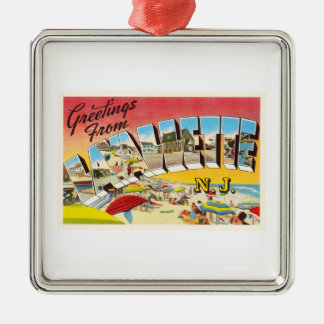 Lavallette New Jersey NJ Vintage Travel Postcard- Metal Ornament