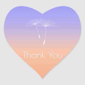 Lavanda Peach Gray Ombre Dandelion Thank You Heart Sticker