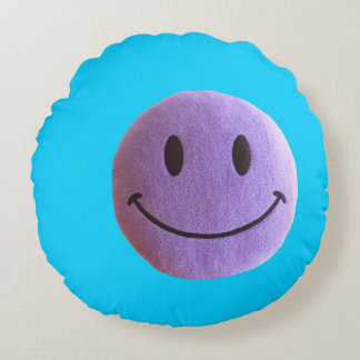 Lavander and aqua blue round pillow Smiley face