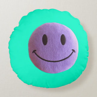 Lavander-turquoise green round pillow Smiley face