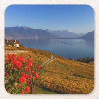 Lavaux region, Vaud, Switzerland Square Paper Coaster