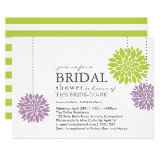 Lavendar and Green PomPom Flowers Bridal Shower Card