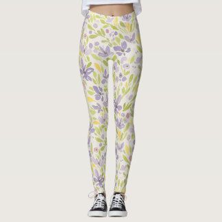 Lavendar and Green Spring Floral  Design Leggings