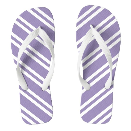 Lavendar and White Stripes Flip Flops