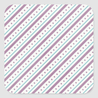 Lavendar Blue Stripes Square Sticker