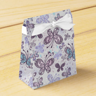 Lavendar Butterflies Tent with Ribbon Favor Box
