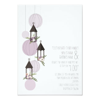 Lavendar Floral Lanterns Wedding Card