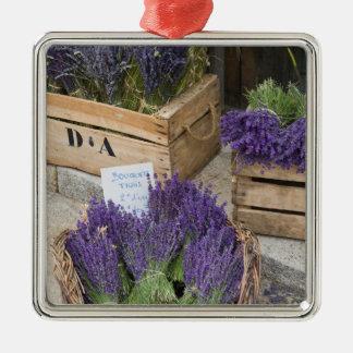 Lavendar for sale, Provence, France Silver-Colored Square Ornament