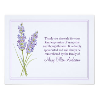 Lavendar Funeral Note Card Flat Bereavement Note