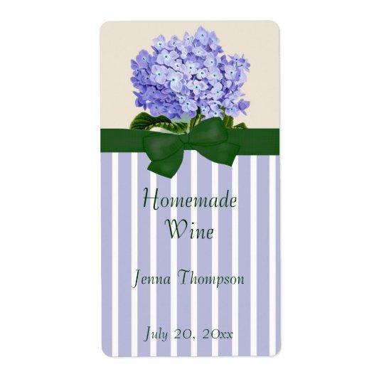 Lavendar Hydrangea Homemade Wine Label