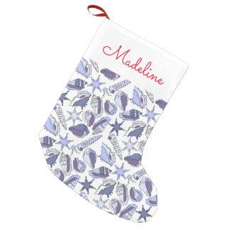 Lavendar Seashells | Add Your Name Small Christmas Stocking