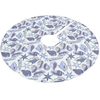 Lavendar Seashells Brushed Polyester Tree Skirt