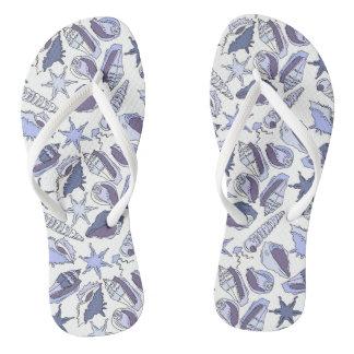 Lavendar Seashells Flip Flops