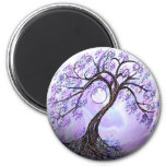 Lavendar Tree of Life 2 Inch Round Magnet
