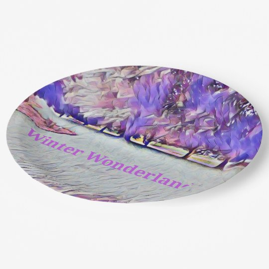 Lavende White Winter Wonderland Artistic Landscape Paper Plate