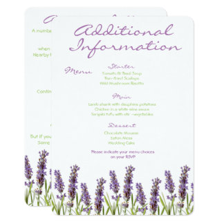 Lavender Additional Information Card