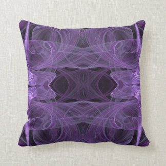 Lavender and Black Abstract Fractal Pillow