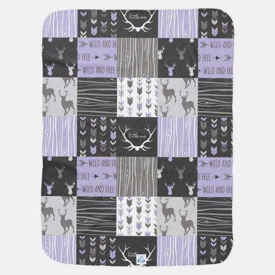 Lavender And Black Woodland Patchwork Baby Blanket