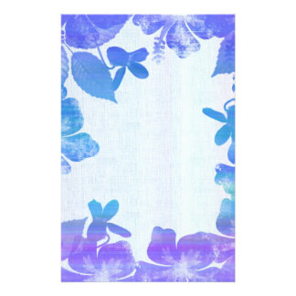 Lavender and Blue Floral Border Stationery