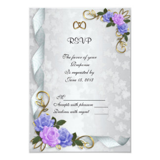 Lavender and Blue roses  Invitation response card