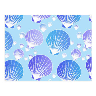 Lavender and blue seashells on pale blue postcard
