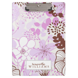 Lavender and Brown Floral Pattern Personalized Clipboard