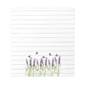 Lavender and butterflies notepad