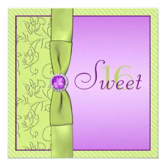 Lavender and Chartreuse Sweet Sixteen Invitation