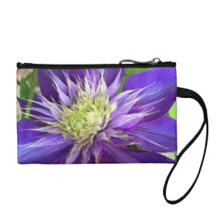 Lavender and Cream Clematis Coin Wallet