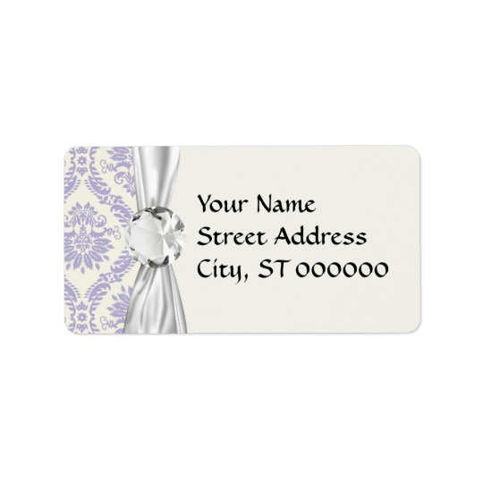 lavender and cream lovely damask label