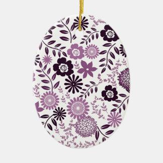Lavender and dark purple pattern floral ceramic oval ornament