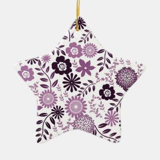 Lavender and dark purple pattern floral ceramic star ornament