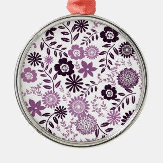 Lavender and dark purple pattern floral Silver-Colored round ornament