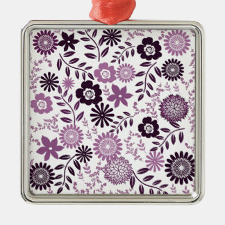 Lavender and dark purple pattern floral Silver-Colored square ornament