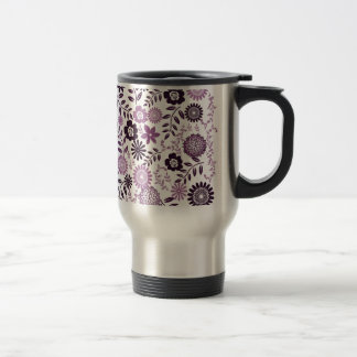 Lavender and dark purple pattern floral travel mug