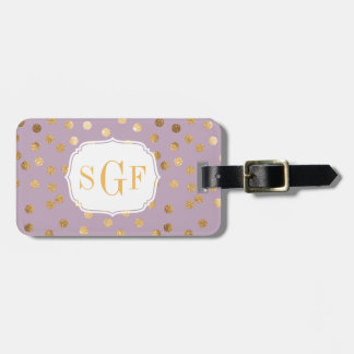 Lavender and Gold Glitter City Dots Monogram Luggage Tag