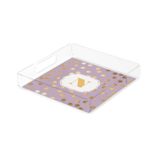Lavender and Gold Glitter City Dots Monogram Tray