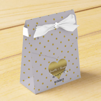 Lavender And Gold Heart Polka Dots Favor Boxes