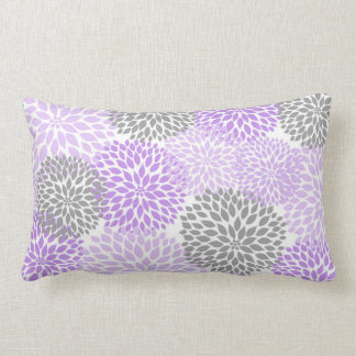 Lavender and Gray Dahlia / Mums rectangular pillow