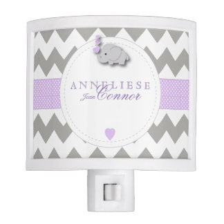 Lavender and Gray Elephant Design Night Light