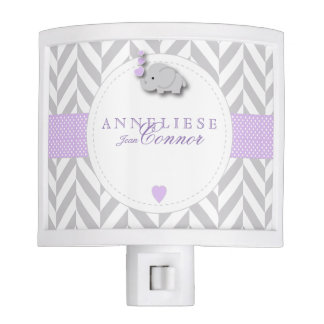 Lavender and Gray Elephant Design Night Lite