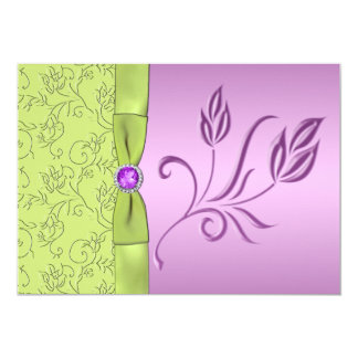 Lavender and Green Jeweled Wedding Invitation