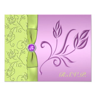 Lavender and Green Jewelled RSVP Card