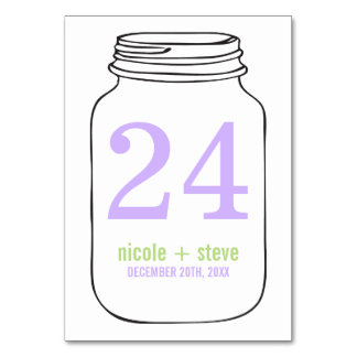 Lavender and Green Monogram Mason Jar Wedding Table Cards