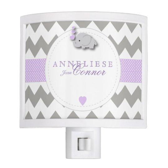 Lavender and Grey Elephant Design Night Light