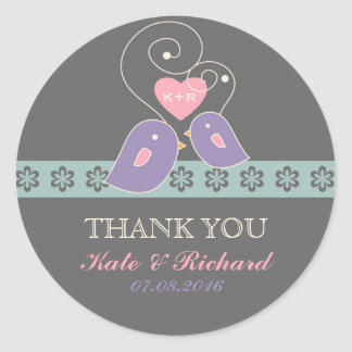 Lavender and Grey Love Birds Wedding Sticker